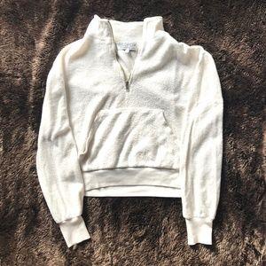 WILDFOX white quarter zip fleece XS